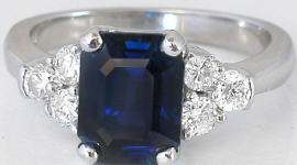 Emerald Cut Blue Sapphire and Diamond Ring in 14k white gold
