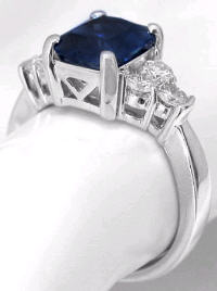 Emerald Blue Sapphire and Diamond Ring in 14k white gold
