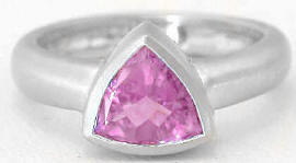 Trillion Cut Pink Sapphire Ring in 14k white gold