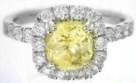 Genuine Yellow Sapphire Ring with Diamond Halo in 14k white gold