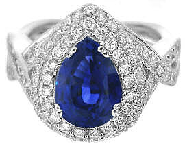 Ceylon Pear Cut Sapphire and Diamond Engagement Ring in 14k white gold