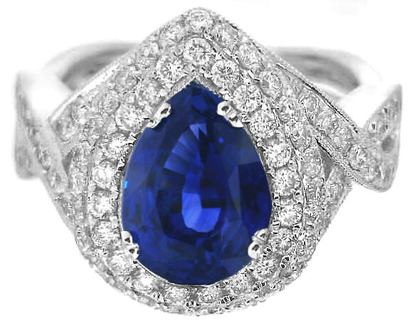 09f1594a29 Fine Quality Pear Shape Ceylon Sapphire and Double Diamond Halo Ring ...