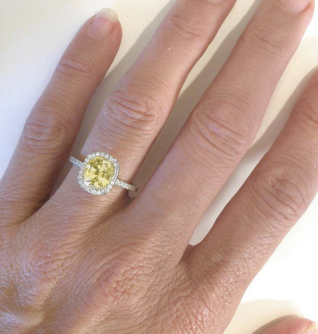 yellow sapphire engagement ring with cushion cut unheated. Black Bedroom Furniture Sets. Home Design Ideas