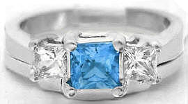 Princess Blue Topaz White Sapphire Engagement Ring with Wedding Ring