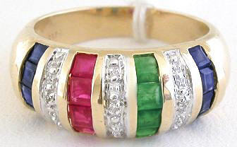 Ruby, Sapphire and Emerald Dome Ring in 14k yellow gold
