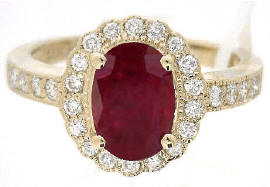 1.88 ctw Burmese Ruby and Diamond Ring in 14k yellow gold