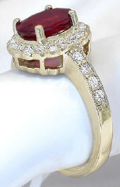 Genuine Burmese Ruby and Diamond Halo  Ring in 14k yellow gold
