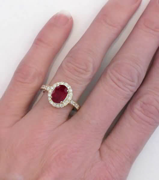 Ct Gold Ruby And Diamond Cluster Ring