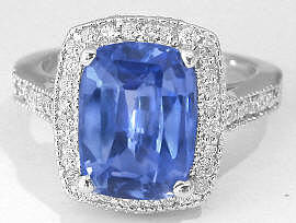 Ceylon Unheated Blue Sapphire and Diamond Ring in 14k