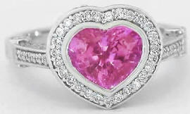 Heart Shaped Pink Sapphire Diamond Engagement Ring