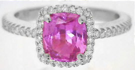Hot Pink Sapphire Engagement Ring