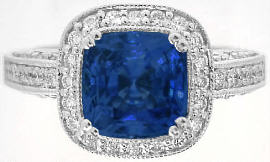 Cushion Cut Madagascar Blue Sapphire and Diamond Ring in 14k white gold