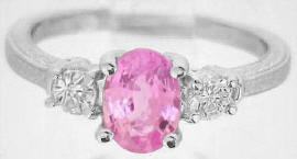 3 Stone Pink and White Sapphire Rings