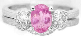 Past Present Future Pink Sapphire Diamond Ring with Matching Band
