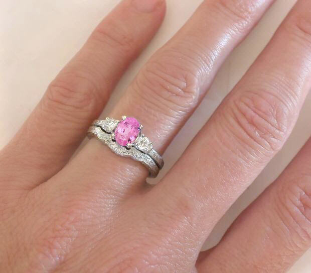 Diamond Engagement Ring Alternative Pink Shire And White