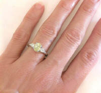Three Stone Engraved 1.14 ctw Yellow Sapphire and Diamond Ring in 14k white gold
