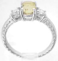 Antique Style 3 Stone Yellow Sapphire and Diamond Ring in 14k white gold