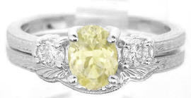 Three Stone Yellow Sapphire Engagement Ring with Matching Band