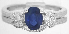 Three Stone Sapphire Engagement Ring and Wedding Band