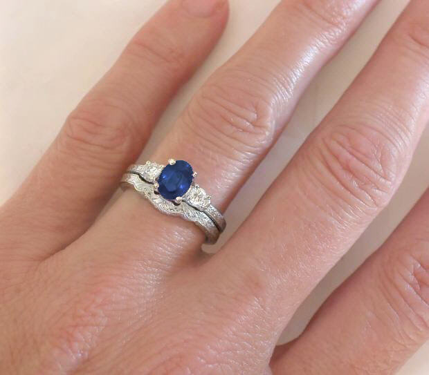 3 stone Sapphire Engagement Ring and Wedding Band with Engraving