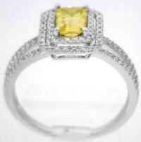 Bright Yellow Sapphire and Diamond Engagement Rings in 14k