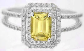 Emerald Cut Yellow Sapphire Engagement Rings