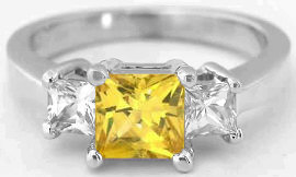 Princess Cut Yellow and White Sapphire Ring in 14k white gold