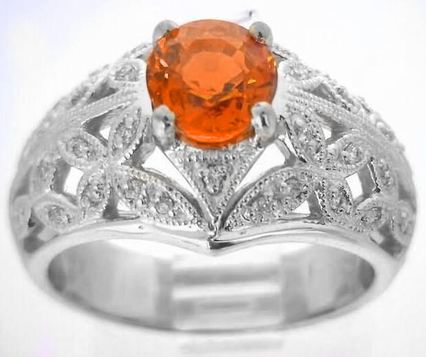 Orange Sapphire Ring Vintage Inspired In 14k White Gold