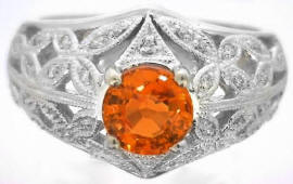 Ornate 1.51 ctw Orange Sapphire and Diamond Ring in 14k white gold