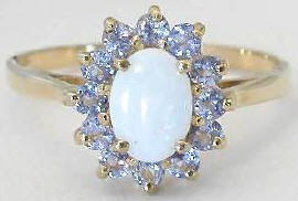 Opal and Tanzanite Ring in 14k Yellow Gold