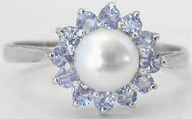 Pearl and Tanzanite Ring in 14k White Gold