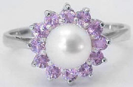Pearl and Pink Sapphire Ring in 14k White Gold