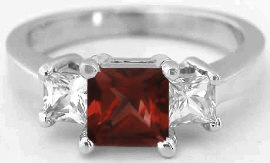 Princess Cut Garnet Ring