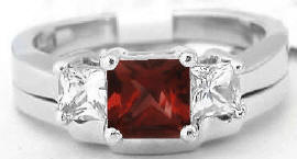 Princess Cut Garnet Engagement Ring and Wedding Band