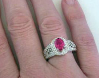 Rubellite Tourmaline Diamond Engagement Rings in 14k White Gold