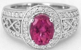 2.03 ctw Rubellite and Diamond Engagement Ring in 14k White Gold with Filigree Detail