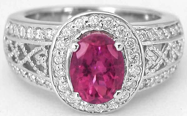 Rubellite Tourmaline Diamond Ring With Diamond Halo And