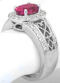 Rubellite Tourmaline and Diamond Rings in 14k