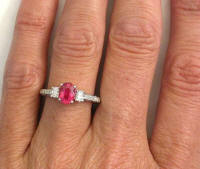 hand view of rubellite tourmaline rings