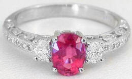 1.41 ctw Rubellite Tourmaline and Diamond Ring in 14k white gold