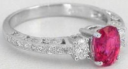 rubellite tourmaline diamond engagement rings