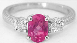 Rubellite Diamond Ring with Engraving