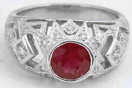 1.14 ctw Bezel Round Ruby and Diamond ring in 18k white gold