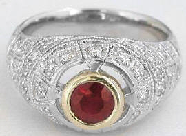1.25 ctw Round Ruby and Diamond ring in 18k white gold