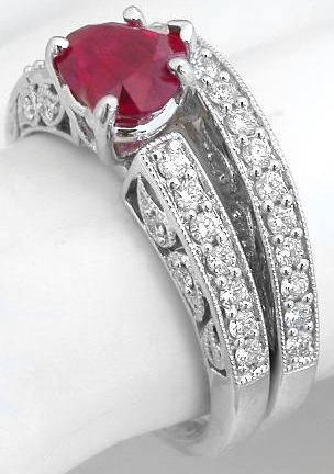 Heart Cut Ruby Engagement Ring With Diamonds