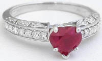 Burmese Ruby and Diamond Wedding Ring in white gold