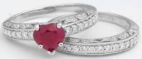 burmese ruby heart and diamond engagement ring set - Ruby Wedding Ring Sets