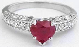 0.92 ctw Burmese Ruby and Diamond Engagement Ring in 14k white gold