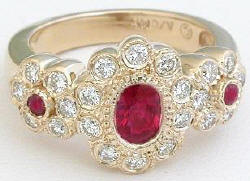 1.31 ctw Ruby and Diamond Ring in 14k yellow gold