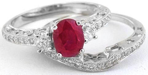 Burmese Ruby And Diamond Engagemet Ring Band In 14k White Gold